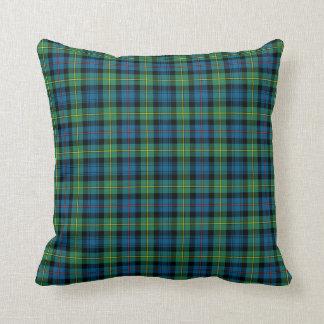 Coussin Plaid bleu et vert d'écossais de clan de Bailey