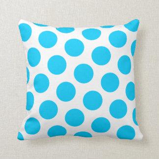 Coussin Point de polka bleu d'Aqua