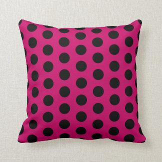 Coussin Point de polka rose et noir gitan