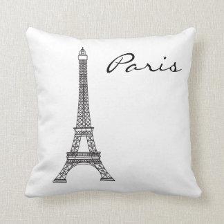 Coussin Point de repère noir et blanc de Paris