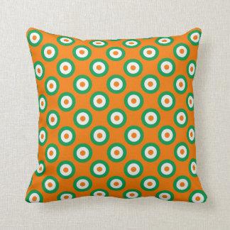 Coussin Points verts/blancs/oranges gais sur orange/blanc