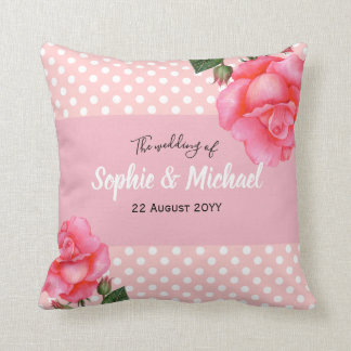 Coussin Pois rose chic minable de roses
