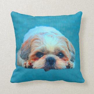 Coussin Portrait d'art de couleur d'eau de chien de Shih