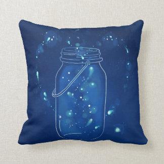 Coussin Pot moderne bleu d'amour de luciole