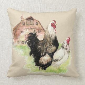 Coussin Poulets poule d'aquarelle et oiseaux de ferme de