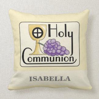 Coussin Premiers raisins et tasse de communion,