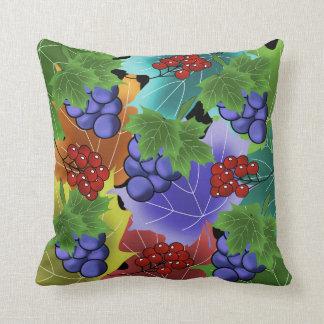 Coussin raisins et feuilles
