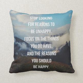 Coussin Raisons d'être citation heureuse