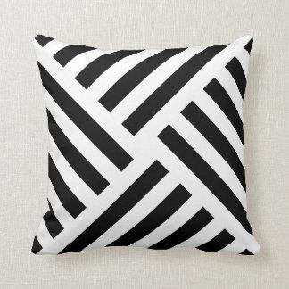 Coussin Rayure géométrique de soleil en noir et blanc