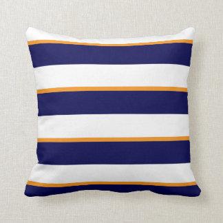 Coussin Rayures blanches de bleu marine, oranges et