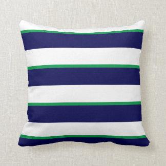 Coussin Rayures blanches de bleu marine, vertes et grandes