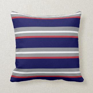 Coussin Rayures de bleu marine, de rouge, blanches et