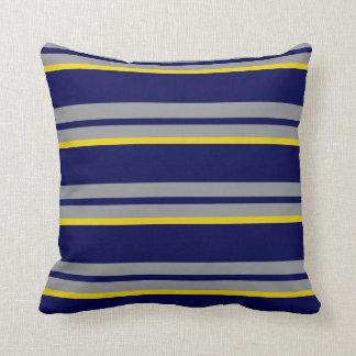 Coussin Rayures de bleu marine, jaunes et grises