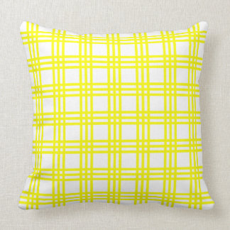 Coussin Rayures jaunes de plaid de soleil sur le blanc