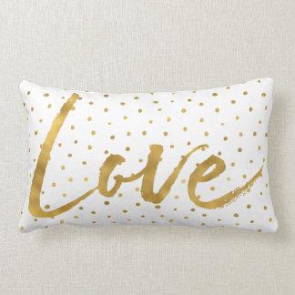 Coussin Rectangle Amour blanc de points d'or chic