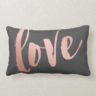 Coussin Rectangle Amour gris-foncé et rose d'or