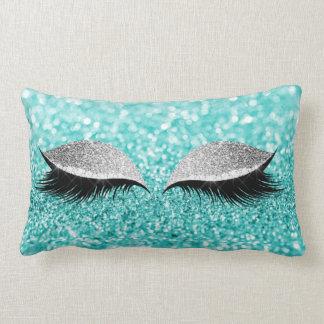 Coussin Rectangle Aqua fascinant de Tiffany de maquillage de noir de