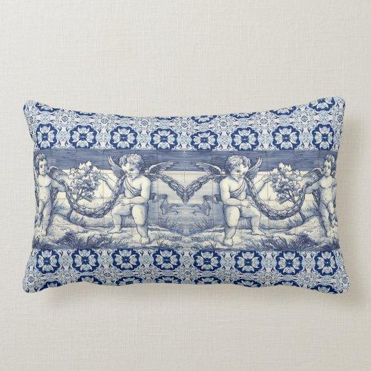 coussin rectangle azulejos et chérubins