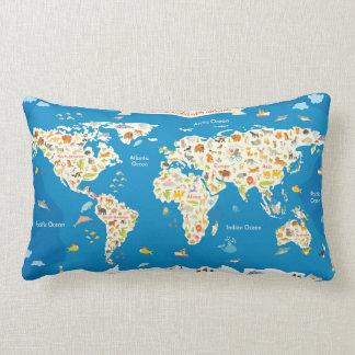 Coussin Rectangle Badine la carte du monde avec des animaux