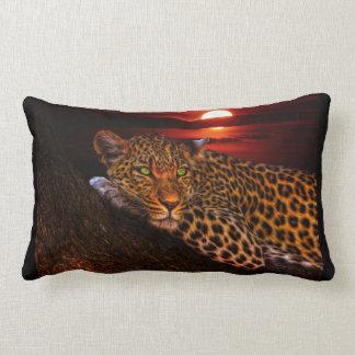 Coussin Rectangle Beau léopard au coucher du soleil