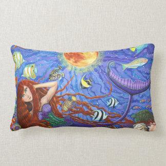 Coussin Rectangle Bel océan de sirène et de poissons d'imaginaire