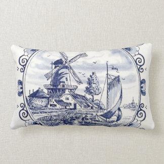 Coussin Rectangle Bleu néerlandais vintage mignon de Delft de