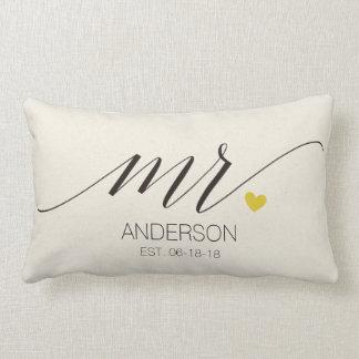 Coussin Rectangle Cadeau de mariage de Mme Personalized de Mr.&