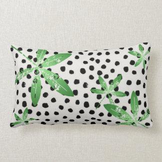 Coussin Rectangle Carreau de polyester, point de polka/feuille verte