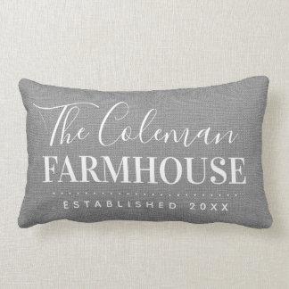 Coussin Rectangle Carreau gris de monogramme de famille de ferme