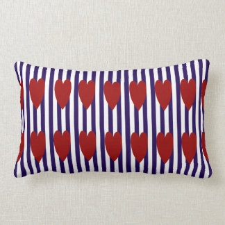 COUSSIN RECTANGLE CARREAU ROUGE DE COEUR DE FILET DE NAVY/WHITE