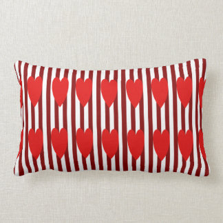 COUSSIN RECTANGLE CARREAU ROUGE DE COEURS DE FILET DE RED/WHITE