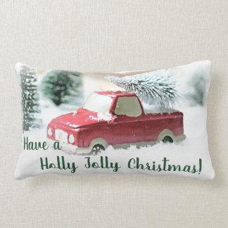 Coussin Rectangle Carreau rouge gai de camion de Noël de houx