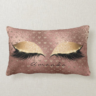 Coussin Rectangle Coeurs nommés de Gold Glitter Lashes de princesse