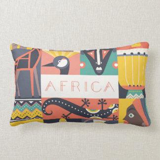 Coussin Rectangle Collage symbolique africain d'art