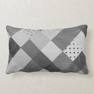 Coussin Rectangle conception vintage de tissu de patchwork noire et