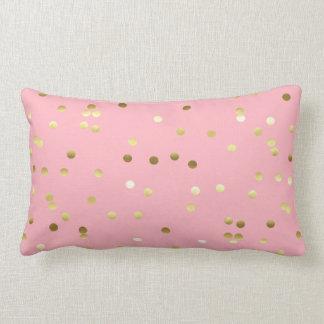 Coussin Rectangle Confettis chics de feuille d'or rose-clair