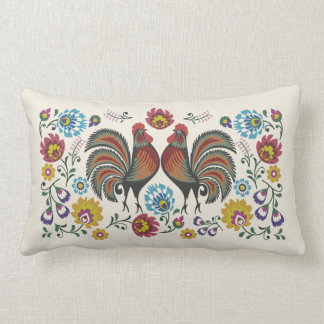 Coussin Rectangle Coqs et roses