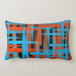 Coussin Rectangle Courses abstraites de brosse d'huile dans orange