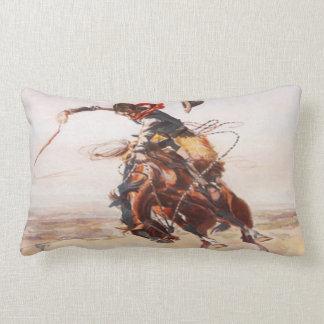 Coussin Rectangle Cowboy occidental sauvage vintage sur le cheval