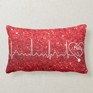 Coussin Rectangle Docteur féminin Nurse Glitter Red Personalized