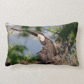 Coussin Rectangle Eagle chauve partant du nid