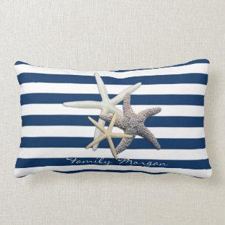 Coussin Rectangle Étoiles de mer adorables, bleu marine