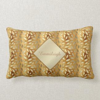 Coussin Rectangle Feuille personnalisé élégant et brillant d'or