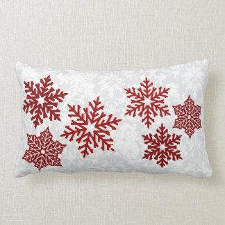 Coussin Rectangle Flocons de neige rouge foncé de Noël