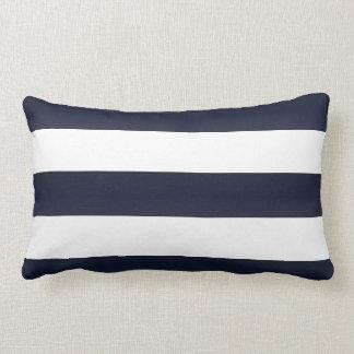 Coussin Rectangle Grandes rayures de bleu marine et de blanc