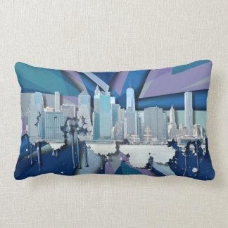 Coussin Rectangle Horizon   3D bleu de New York City