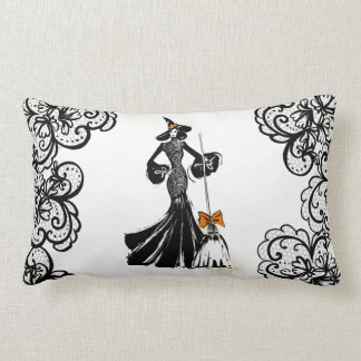 Coussin Rectangle illustration de mode de Halloween avec la dentelle