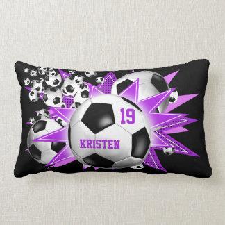 Coussin Rectangle Le football des filles d'éruption de ballon de