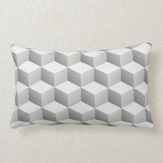 Coussin Rectangle Le lt blanc gris a ombragé des cubes en regard 3D