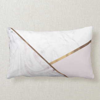 Coussin Rectangle Le remous rose de marbre d'or et rougissent charme